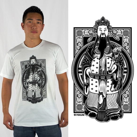 minutia, boston, sticker, prosperity, art, artwork, cai shen, god, samurai, warrior, asian, chinese, japanese, tshirt
