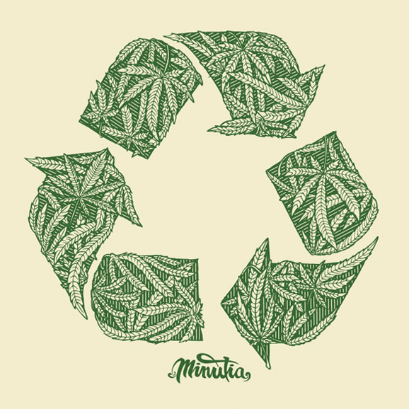 minutia, weed, recycle, drawing, illustration