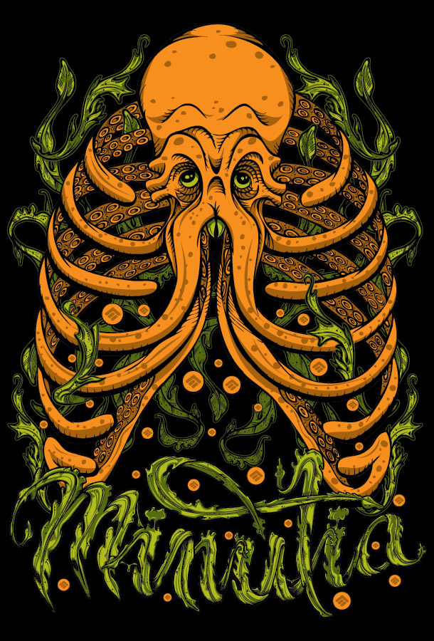 minutia, boston, cthulhu, octopus, design, drawing, seaweed, typography, ribcage