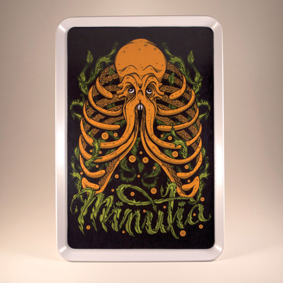 minutia, weed, cthulhu, octopus, ribcage, rolling tray, 420, pot, drawing, illustration, tshirt